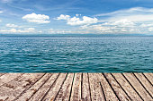 wooden walkway on sea and blue sky