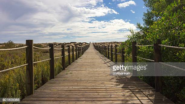 Wooden walkway to the beach, Dunas Douradas, Faro, Portugal