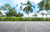 Wooden walkway with tropical garden abstract background
