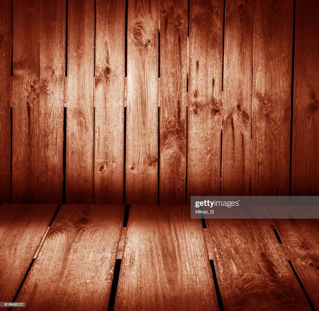 Wooden wall and wooden floor colorful interior : Stock Photo