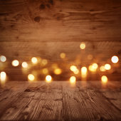 Wooden wall with starlights in front of a table