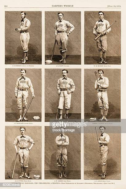Woodengraved portraits of nine members of the Philadelphia Athletics baseball team 1874 The pictures were published in the July 25 1874 issue of the...