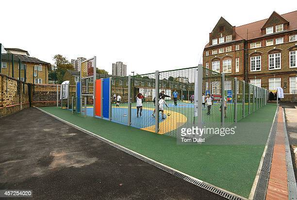 Woodhill Primary School in Woolwich celebrates the opening of its new multiuse sports facility on October 15 2014 in Greenwich England The school the...