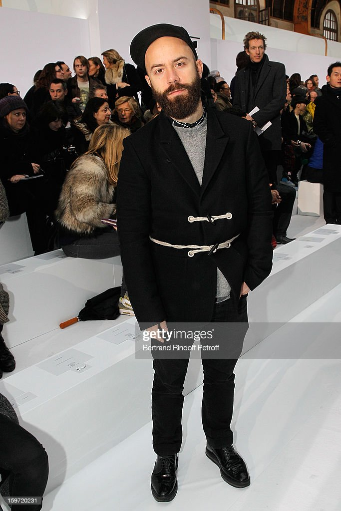 <a gi-track='captionPersonalityLinkClicked' href=/galleries/search?phrase=Woodkid&family=editorial&specificpeople=8986428 ng-click='$event.stopPropagation()'>Woodkid</a> attends the Dior Homme Men Autumn / Winter 2013 show as part of Paris Fashion Week, at Quartier des Celestins on January 19, 2013 in Paris, France.