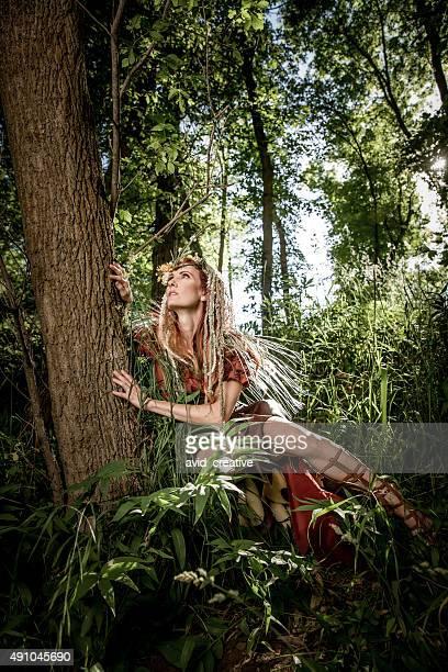 Woodland Princess Hugging Tree