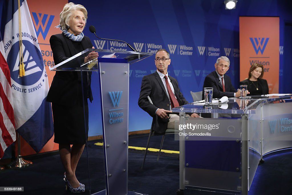 Woodrow Wilson Center President and CEO <a gi-track='captionPersonalityLinkClicked' href=/galleries/search?phrase=Jane+Harman&family=editorial&specificpeople=820911 ng-click='$event.stopPropagation()'>Jane Harman</a> (L) introduces a panel that includes (2nd L-R) National Public Radio Global Health and Development Correspondent Jason Beaubien, National Institute of Allergy and Infectious Director <a gi-track='captionPersonalityLinkClicked' href=/galleries/search?phrase=Anthony+Fauci&family=editorial&specificpeople=964622 ng-click='$event.stopPropagation()'>Anthony Fauci</a> and Google Vice President of Public Policy Susan Molinari for a discussion on 'Zika in the U.S.: Can We Manage the Risk?' at the Woodrow Wilson Center May 24, 2016 in Washington, DC. A mosquito borne virus, Zika is expected to arrive in the United States this summer. Fauci noted that 80-percent of people infected with Zika never show symptoms of the disease and encourgaed people who have traveled to places with outbreaks should continue to wear mosquito repellant long after returning to the United States to reduce the risk of spreading the virus.