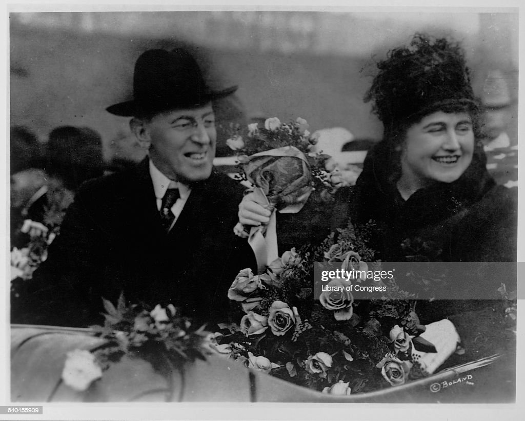 <a gi-track='captionPersonalityLinkClicked' href=/galleries/search?phrase=Woodrow+Wilson&family=editorial&specificpeople=92997 ng-click='$event.stopPropagation()'>Woodrow Wilson</a>, the 28th President of the United States, sits joyfully next to First Lady Edith Bolling Galt Wilson.