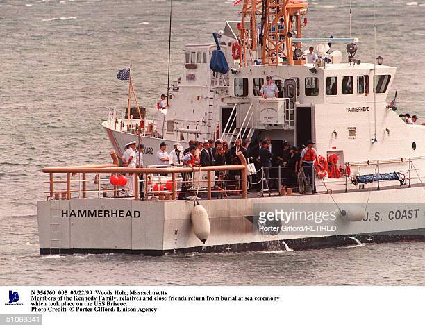 Woods Hole Massachusetts Members Of The Kennedy Family Relatives And Close Friends Return From Burial At Sea Ceremony Which Took Place On The USS...