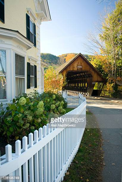 Woodstock Middle Bridge, autumn. Woodstock, Vermont. USA