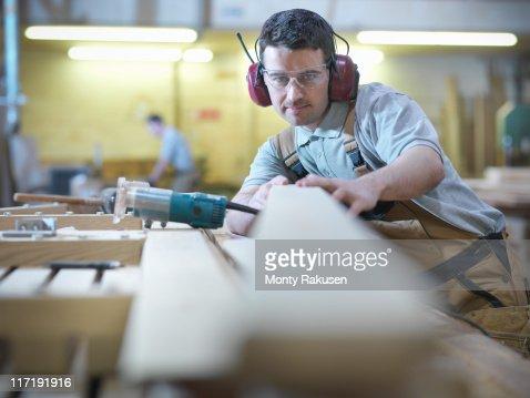 Woodworker in workshop