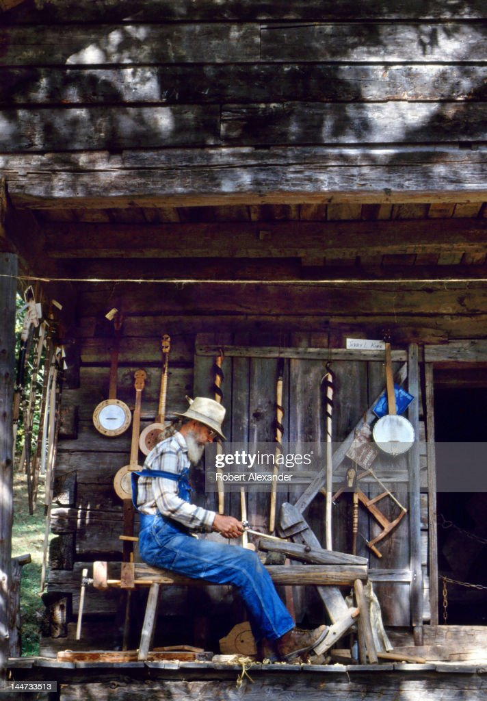 Woodworker Jerry West demonstrates how he uses traditional Early American tools including a shaving horse and drawing knife to make handmade banjos...