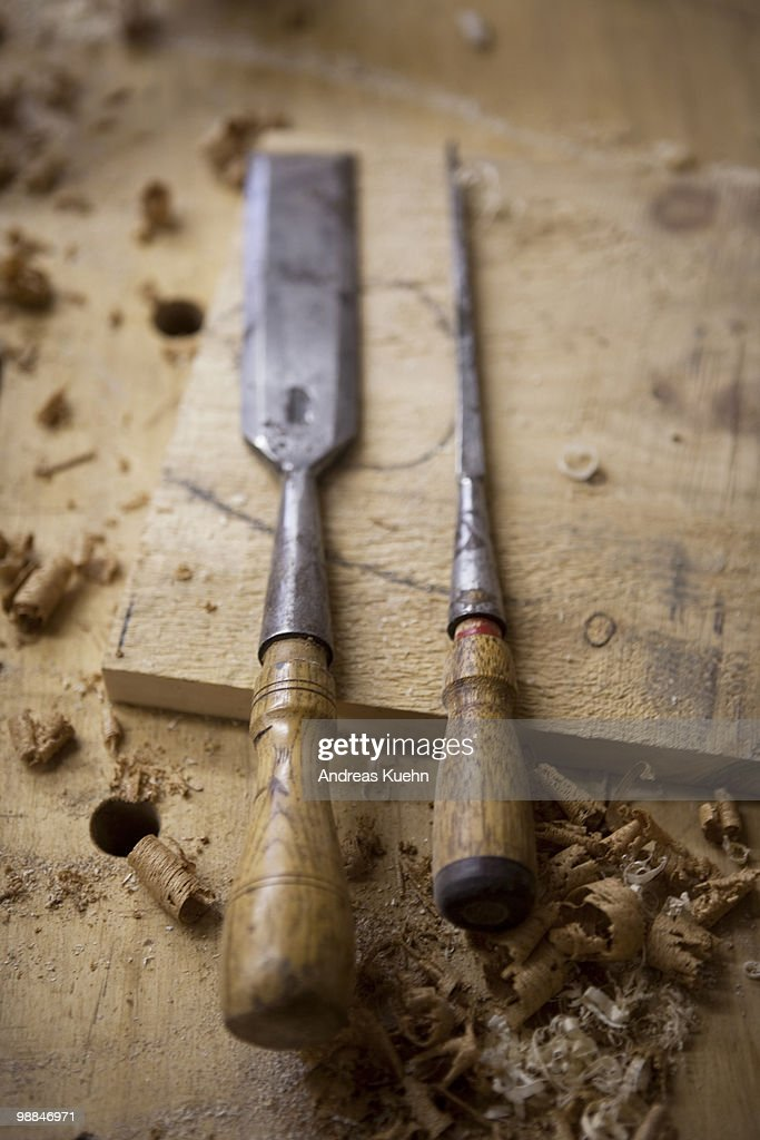 Woodworking tools on workbench, close up. : Stock Photo