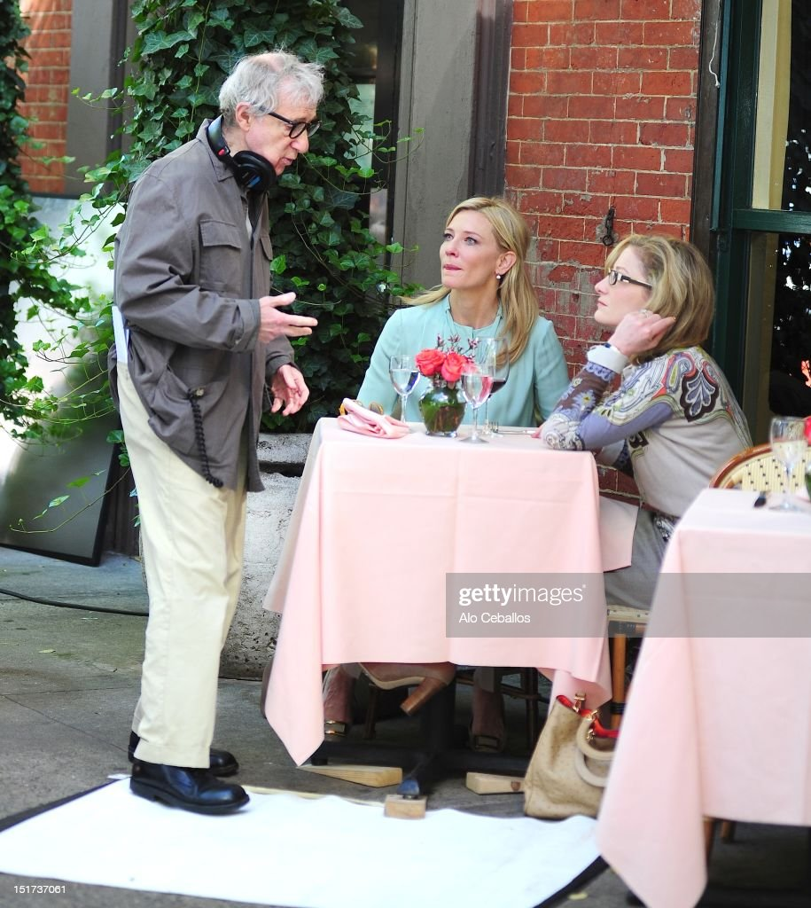 <a gi-track='captionPersonalityLinkClicked' href=/galleries/search?phrase=Woody+Allen&family=editorial&specificpeople=202886 ng-click='$event.stopPropagation()'>Woody Allen</a> and <a gi-track='captionPersonalityLinkClicked' href=/galleries/search?phrase=Cate+Blanchett&family=editorial&specificpeople=201621 ng-click='$event.stopPropagation()'>Cate Blanchett</a> are seen on the set of <a gi-track='captionPersonalityLinkClicked' href=/galleries/search?phrase=Woody+Allen&family=editorial&specificpeople=202886 ng-click='$event.stopPropagation()'>Woody Allen</a>'s new untitled movie on the streets of Manhattan on September 10, 2012 in New York City.