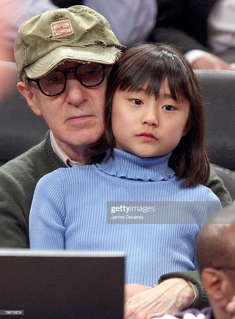 Woody Allen and daughter Bechet Dumaine Allen attend San Antonio Spurs vs NY Knicks game at Madison Square Garden in New York City on February 8, 2008.