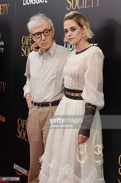 Woody Allen and Kristen Stewart attends the premiere of 'Cafe Society' hosted by Amazon Lionsgate with The Cinema Society at Paris Theatre on July 13...