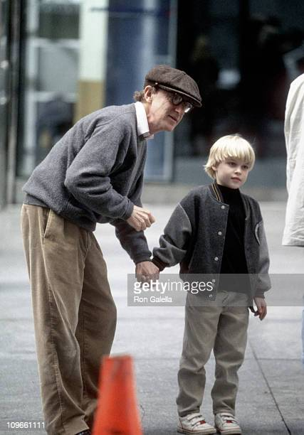 Woody Allen and son Satchel O'Sullivan Farrow during Julia Roberts on Location for Woody Allen's 'Everyone Says I Love You' October 8 1995 at 6th...