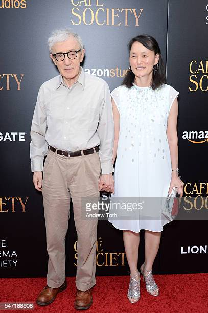 Woody Allen and SoonYi Previn attend the Cinema Society screening of 'Cafe Society' at Paris Theatre on July 13 2016 in New York City