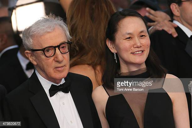 Woody Allen and SoonYi Previn attend the 'Irrational Man' premiere during the 68th annual Cannes Film Festival on May 15 2015 in Cannes France
