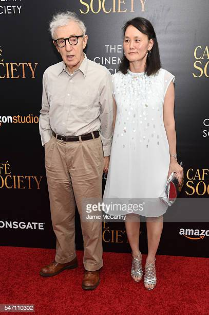 Woody Allen and SoonYi Previn attend the premiere of 'Cafe Society' hosted by Amazon Lionsgate with The Cinema Society at Paris Theatre on July 13...