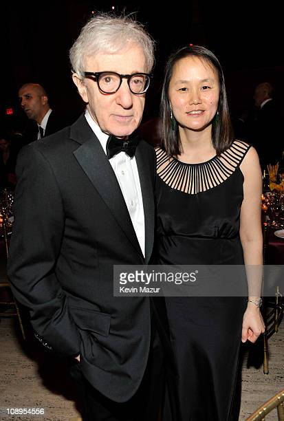 Woody Allen and SoonYi Previn attends the amfAR New York Gala to kick off Fall 2011 Fashion Week at Cipriani Wall Street on February 9 2011 in New...