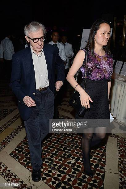 Woody Allen and wife SoonYi Previn attend the 37th Anniversary TJ Martell Foundation Awards Gala at Cipriani 42nd Street on October 23 2012 in New...