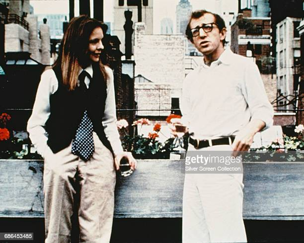 Woody Allen as Alvy Singer and Diane Keaton as Annie Hall in the comedy film 'Annie Hall' 1977
