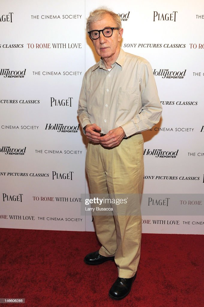 <a gi-track='captionPersonalityLinkClicked' href=/galleries/search?phrase=Woody+Allen&family=editorial&specificpeople=202886 ng-click='$event.stopPropagation()'>Woody Allen</a> attends the Cinema Society with The Hollywood Reporter & Piaget and Disaronno special screening of 'To Rome With Love' at the Paris Theatre on June 20, 2012 in New York City.