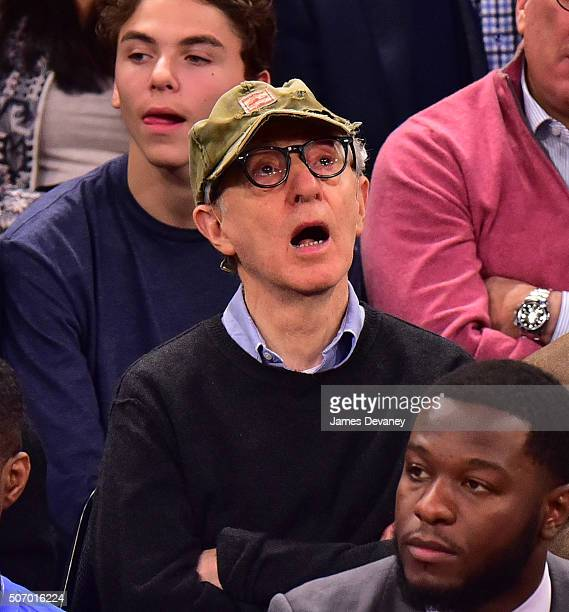 Woody Allen attends the Oklahoma City Thunder vs New York Knicks game at Madison Square Garden on January 26 2016 in New York City
