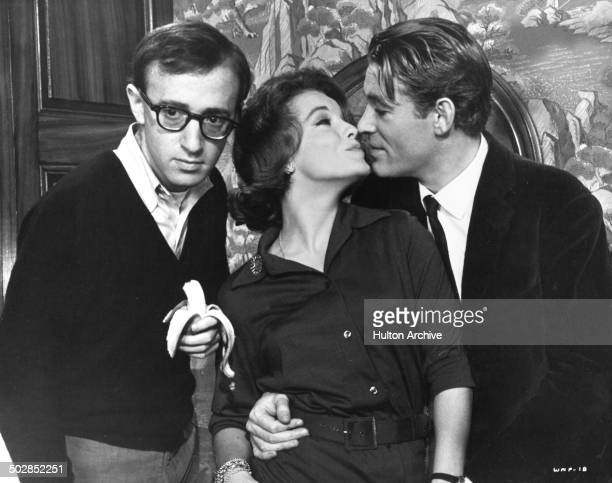 Woody Allen Romy Schneider kisses Peter O'Toole in a scene of the movie 'What's New Pussycat' circa 1965