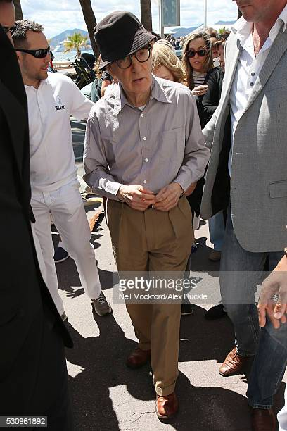 Woody Allen seen leaving Nikki Beach for press junket for Cafe Society on May 12 2016 in Cannes France