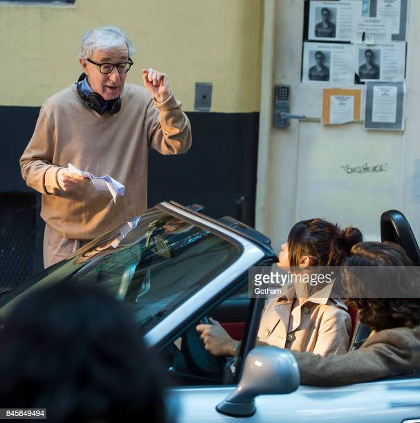 Woody Allen Selena Gomez and Timothee Chalamet are seen filming a Woody Allen filmin the West Village on September 11 2017 in New York City