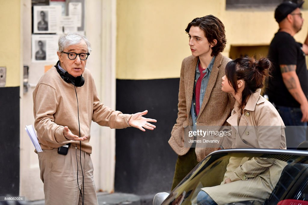 Woody Allen, Timothe Chalamet and Selena Gomez seen on location for Woody Allen's untitled movie on September 11, 2017 in New York City.