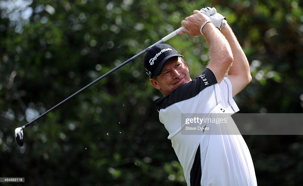 Woody Austin hits his drive on the sixth hole during the first round of the Shaw Charity Classic on August 29, 2014 in Calgary, Canada.