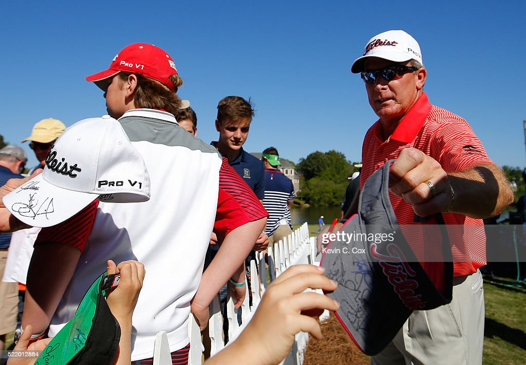 Woody Austin signs autographs after his final round of the Mitsubishi Electric Classic at TPC Sugarloaf on April 17 2016 in Duluth Georgia