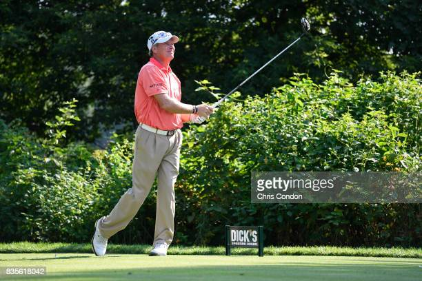 Woody Austin tees off on the 15th hole during the second round of the PGA TOUR Champions DICK'S Sporting Goods Open at EnJoie Golf Course on August...
