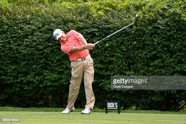 Woody Austin tees off on the 16th hole during the second round of the PGA TOUR Champions DICK'S Sporting Goods Open at EnJoie Golf Course on August...