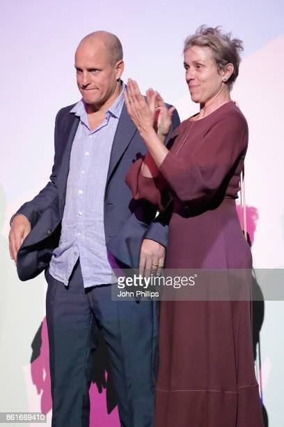 Woody Harrelson and Frances McDormand are seen on stage ahead of the UK Premiere of 'Three Billboards Outside Ebbing Missouri' at the closing night...