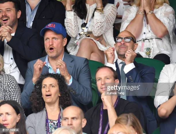 Woody Harrelson and Stanley Tucci attend the Women's Singles Final during the Wimbledon Tennis Championships at the All England Lawn Tennis and...
