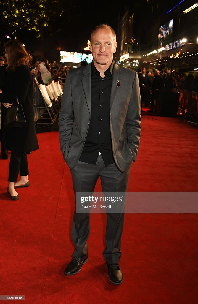 <a gi-track='captionPersonalityLinkClicked' href=/galleries/search?phrase=Woody+Harrelson&family=editorial&specificpeople=208923 ng-click='$event.stopPropagation()'>Woody Harrelson</a> attends the UK Premiere of 'The Hunger Games: Mockingjay Part 2' at Odeon Leicester Square on November 5, 2015 in London, England.