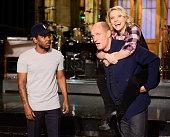 LIVE 'Woody Harrelson' Episode 1668 Pictured Kendrick Lamar Woody Harrelson and Kate McKinnon on November 13 2014