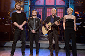LIVE 'Woody Harrelson' Episode 1668 Pictured Liam Hemsworth Josh Hutcherson Woody Harrelson and Jennifer Lawrence sing during the monologue on...