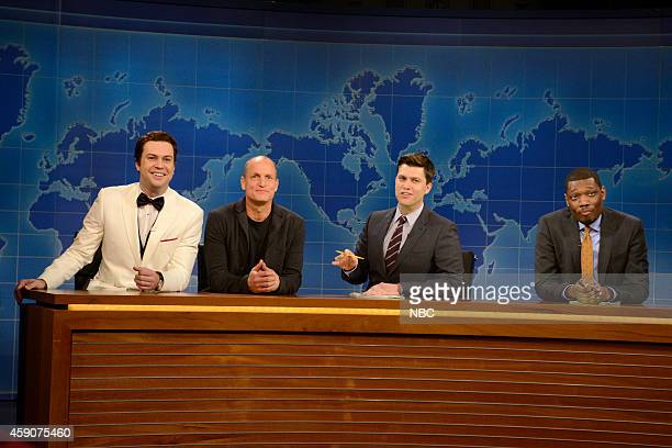 LIVE 'Woody Harrelson' Episode 1668 Pictured Taran Killam as Matthew McConaughey Woody Harrelson Colin Jost and Michael Che during Weekend Update on...