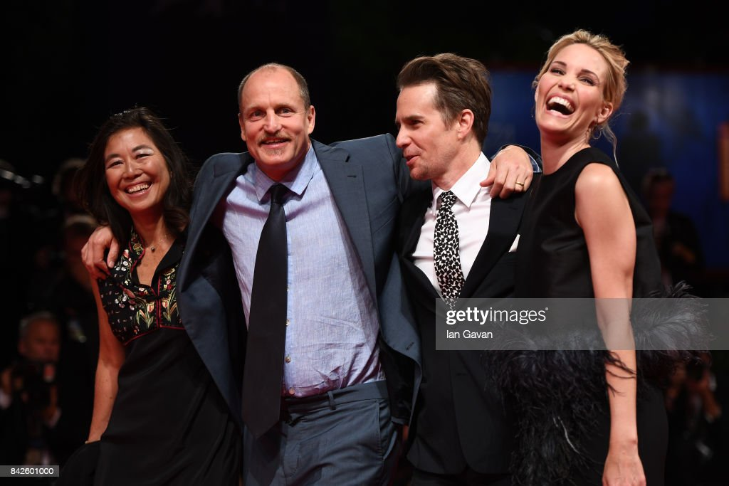 Woody Harrelson, Laura Louie, Sam Rockwell and Leslie Bibb walk the red carpet ahead of the 'Three Billboards Outside Ebbing, Missouri' screening during the 74th Venice Film Festival at Sala Grande on September 4, 2017 in Venice, Italy.