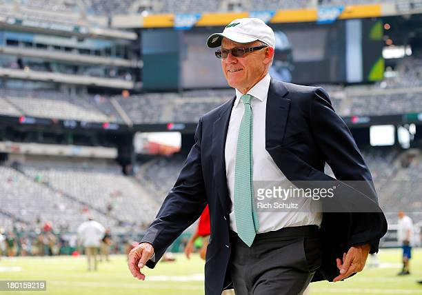Woody Johnson owner of the New York Jets before the start of an NFL football game against the Tampa Bay Buccaneers at MetLife Stadium on September 8...