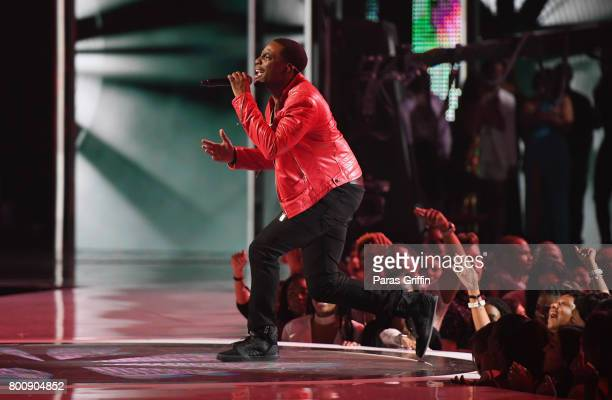 Woody McClain of the adult cast of 'The New Edition Story' performs onstage at 2017 BET Awards at Microsoft Theater on June 25 2017 in Los Angeles...