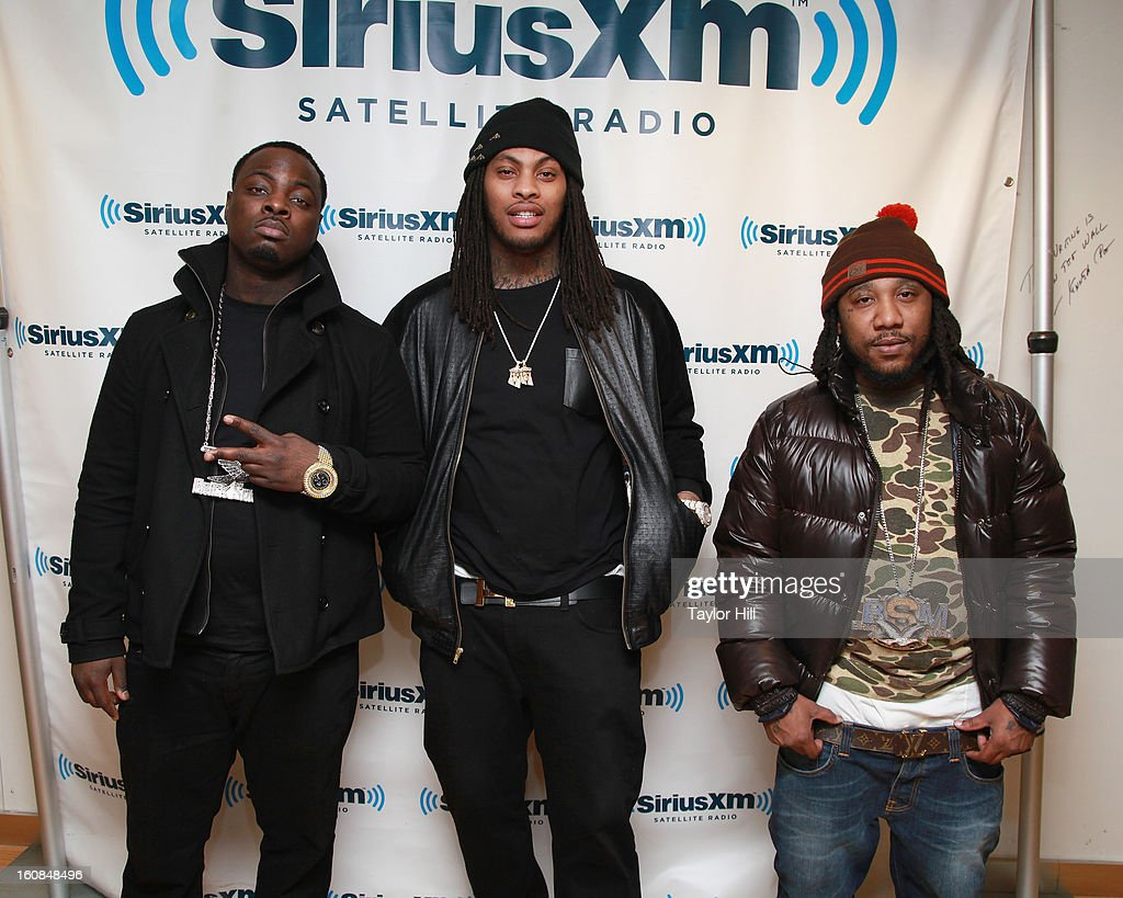 Wooh Da Kid, <a gi-track='captionPersonalityLinkClicked' href=/galleries/search?phrase=Waka+Flocka+Flame&family=editorial&specificpeople=6915851 ng-click='$event.stopPropagation()'>Waka Flocka Flame</a>, and Frenchie visit SiriusXM Studios on February 6, 2013 in New York City.