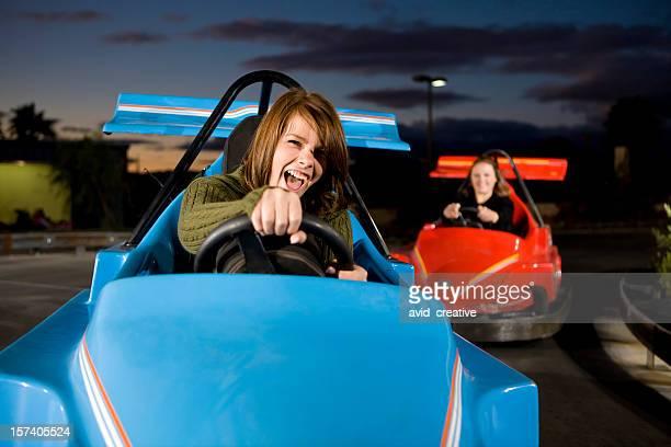 Woohoo! Girl and Mother Racing Go-Karts