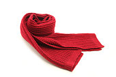 Wool knitted red scarf isolated on white background