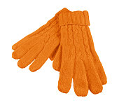Orange woolen gloves isolated on white with Clipping Path