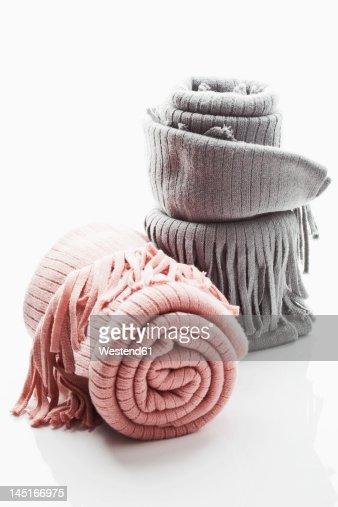 Woollen blanket on white background, close up